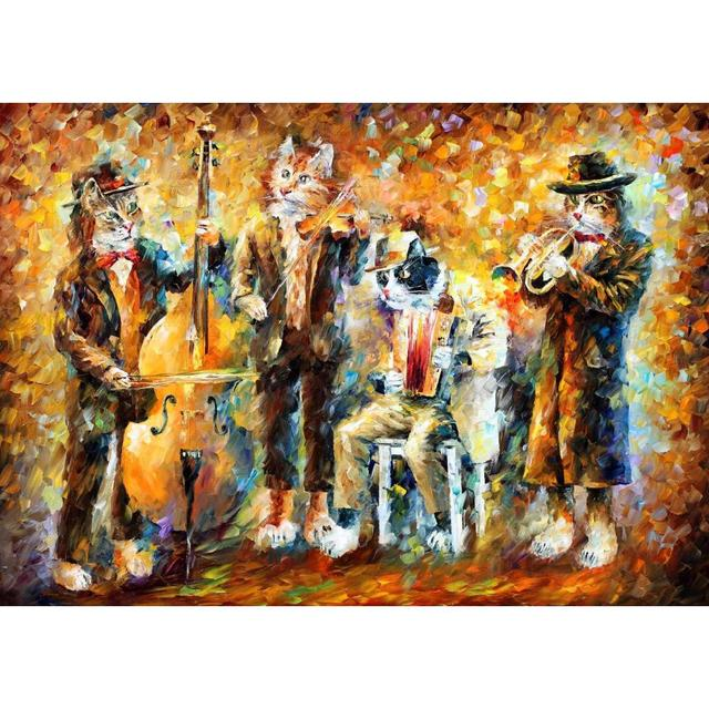Modern Art Paintings For Sale Musical Cats Knife Oil Painting Animal Porait  Lovely Picture For Living