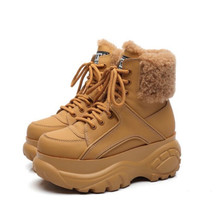 Winter Fashion White Casual Womens Boots Genuine Leather Platform Sports High top Womens Shoes New Comfortable Wool Warm Boots
