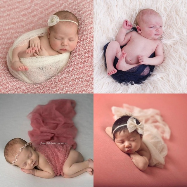 50160cm mesh gauze cheesecloth wraps newborn photography props infant costume soft photo wrap matching