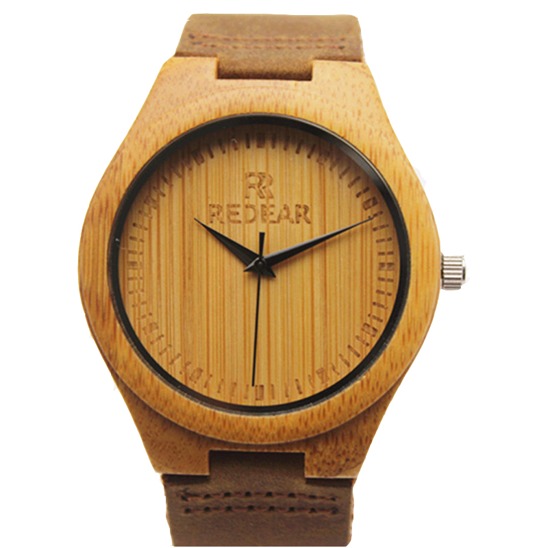 Hot Selling Japanese MIYOTA Movement Wristwatche Genuine Leather Bamboo Wooden Watches For font b Men b