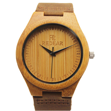 Mens Bamboo Wood Watch Fashion And Casual Gifts With Genuine Leather Strap