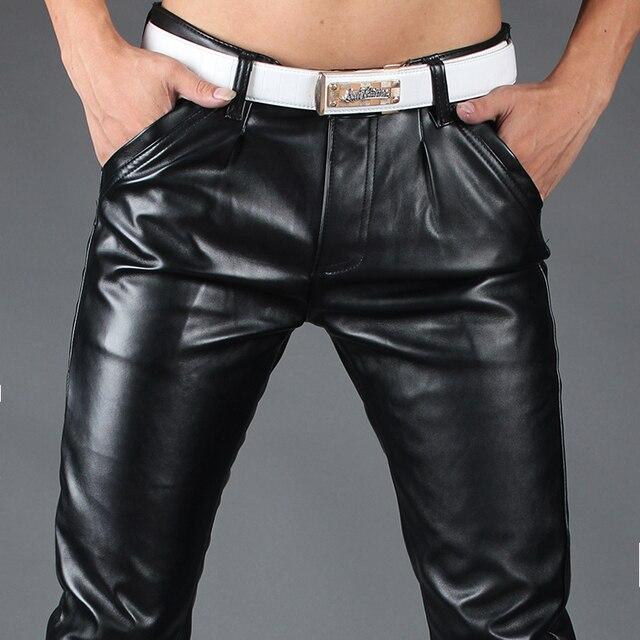 Весна и осень мужской черный кожаные брюки плюс толстый бархат ПУ кожа стрейч Тонкий ноги теплые брюки мото брюки