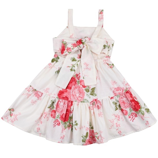 44fa406d062dd Flofallzique 2019 Printed Floral and pink kids clothes Sling back bow tie  cute princess toddler wedding party new dresses 1-10Y