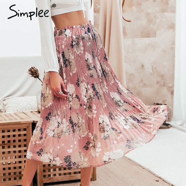 Simplee Bohemian ruffled high waist chiffon women long skirt Floral print skirt pleated summer skirt Female lining midi skirt