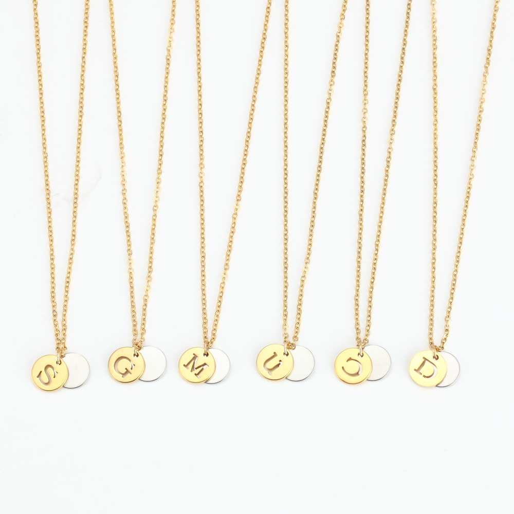 ae2ddf515 ... 26 Letter Personalized Name Jewelry Gold Engrave Letter 2 Discs Choker  Monogram Custom Initial Necklace Pendant