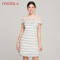 ONERILA Summer Party Sexy Elegant Women Black White Striped Dress Ruffles O Neck Short Sleeve Lace Mini Dress Club Wear 2018 New