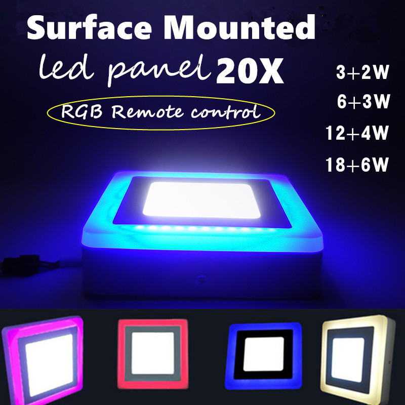 20pcs Remote control RGB LED Panel not cutting 6W 9W 16W24W 3Model LEDPanel Light Double Color