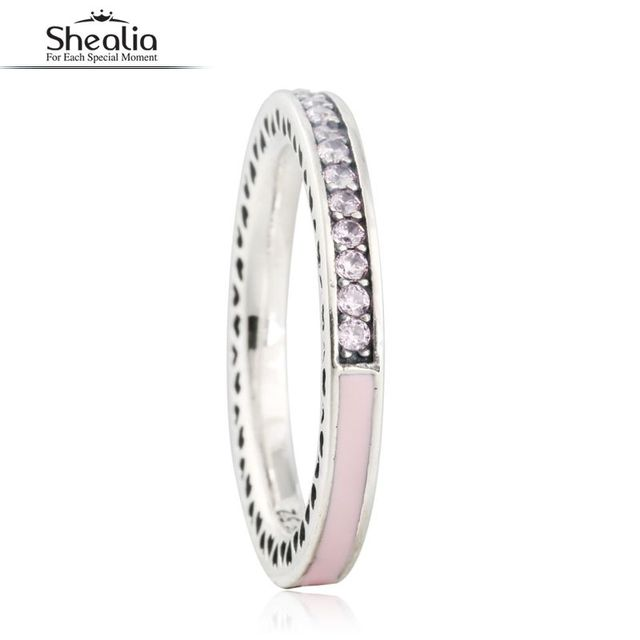 SHEALIA 925 Sterling Silver Pink Enamel Radiant Hearts Rings For Women CZ Diamond Wedding Band Engagement Ring With Brand Logo