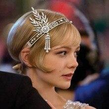 Nueva novia de la boda gran Gatsby Charleston 1920 s Vintage perlas celada diadema corona de la perla vestido cabeza pelo banda