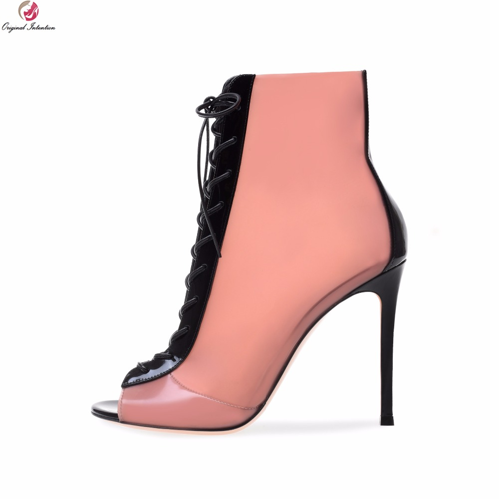 Original Intention Fashion Women Ankle Boots Sexy Peep Toe Gorgeous Thin High Heels Boots Stylish Pink Shoes Woman US Size 4-14 women summer sandals fashion sexy lace cut out open the toe woman ankle boots thin high heels peep toes shoes sxq0602