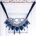 2017 New Hot! Fashion  Blue diomands rhinestone gem crystal peacock feather rope statement necklace fashion Free shipping