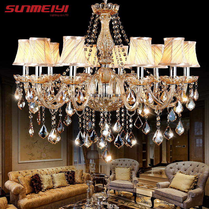 Modern LED Amber Crystal chandelier Lights For Living Room Light Ceiling Fixture Indoor Pendant Lamp With Lampshade