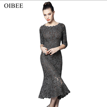 2019OIBEE High Quality Fashion Lace Hollow Out Three Quarter Solid trumpet Sexy Elegant Party Dress