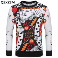 QZXZSM 2017 Men's 3D Poker Sweatshirts Hoodies Autumn Hoodies Men Hip Hop Plus Size Clothing Long Sleeve