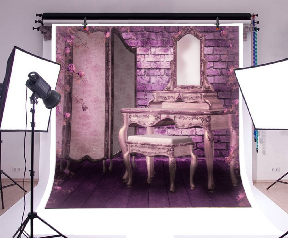 Laeacco Old Boudoir Interior Dressing Table Flowers Photography Background Customized Photographic Backdrops For Photo Studio in Background from Consumer Electronics