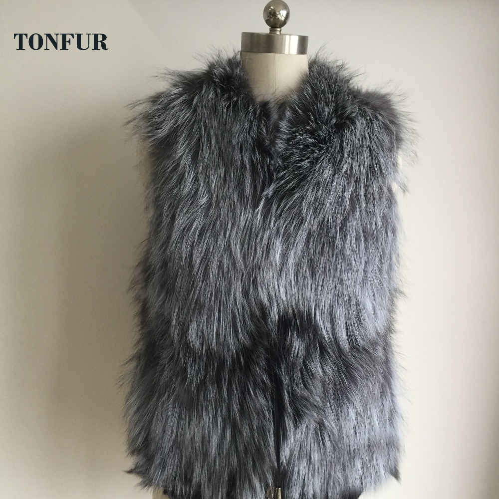 Low Low 2019 Autumn and Winter New Design Nature Genuine Real Silver Fox Fur Vest gilet outwear womens Fashion Fur Vest AH507