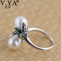 V. YA Słodkowodne Perły Pierścionki Majątek 925 Sterling Silver Vintage Natural Peal Ring Finger Dla Kobiet Kobieta Biżuteria NAS rozmiar