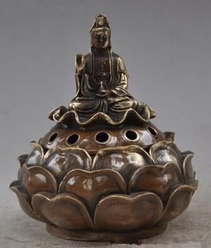 Art Bronze Decoration Crafts Brass Buddhism Brass lotus seat Bodhisattva Kwan-Yin GuanYin statues 150mm Height