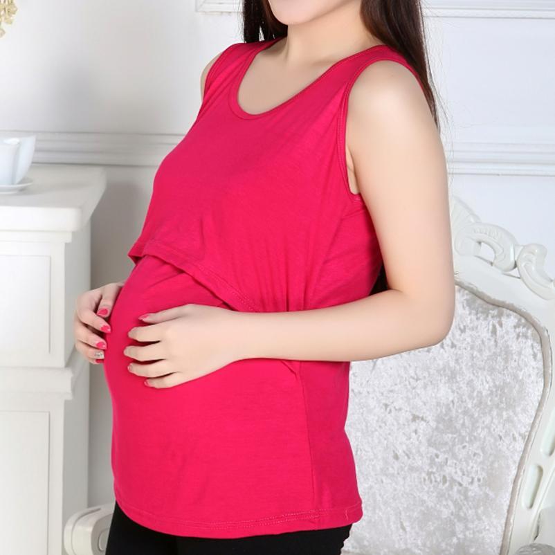 KLV Clothes For Pregnant Women Nursing Top For Pregnant Women T-feeding Maternity Clothes Summer Cotton Vest Nursing Clothes