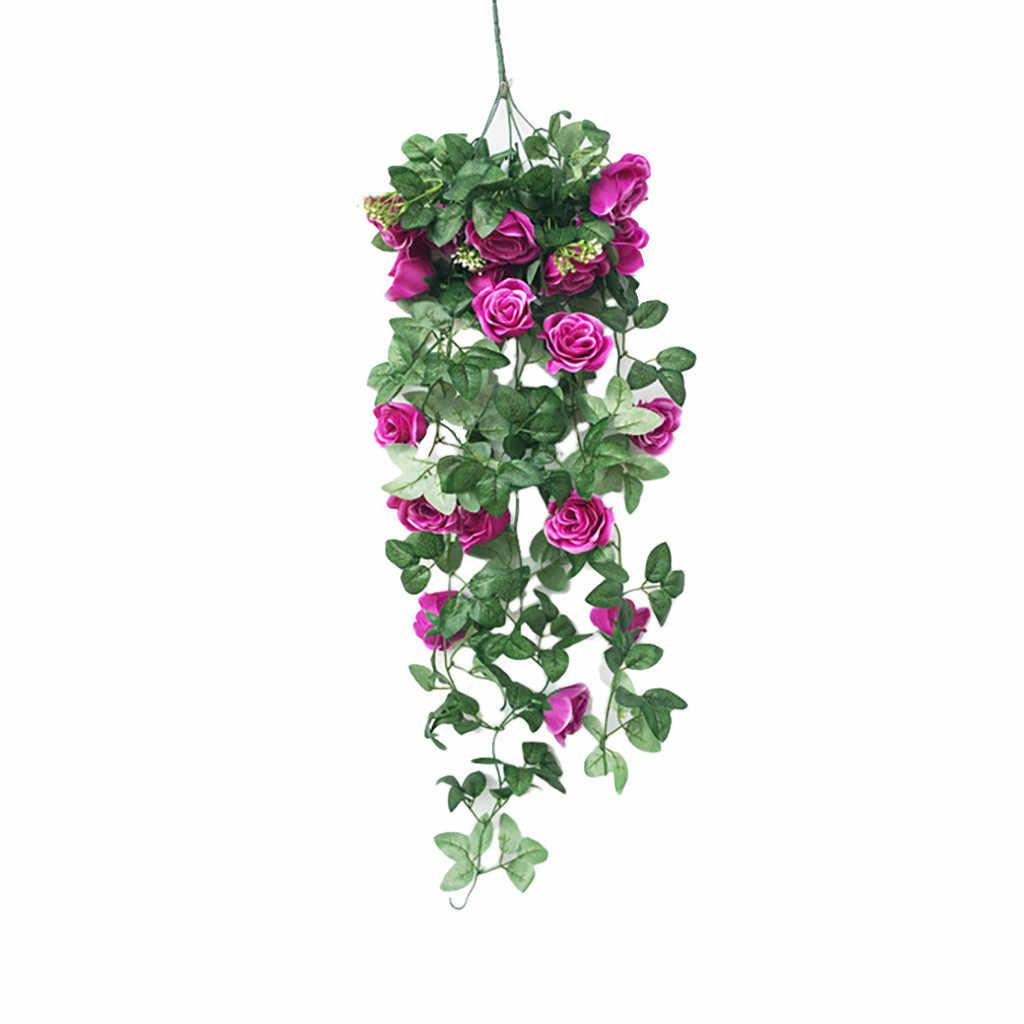 Dropshipping Simulasi Palsu Bunga Rose Vine Dinding Anggrek Gantung Keranjang Bunga Ruang Tamu Balkon Rumah Dekorasi Bunga