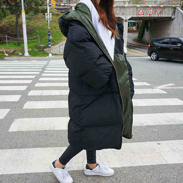 BringBring 2016 Winter Jacket Black and Army Green Thickening Coat Women Loose Long Cotton Coat for Woman Plus size 4XL 1716