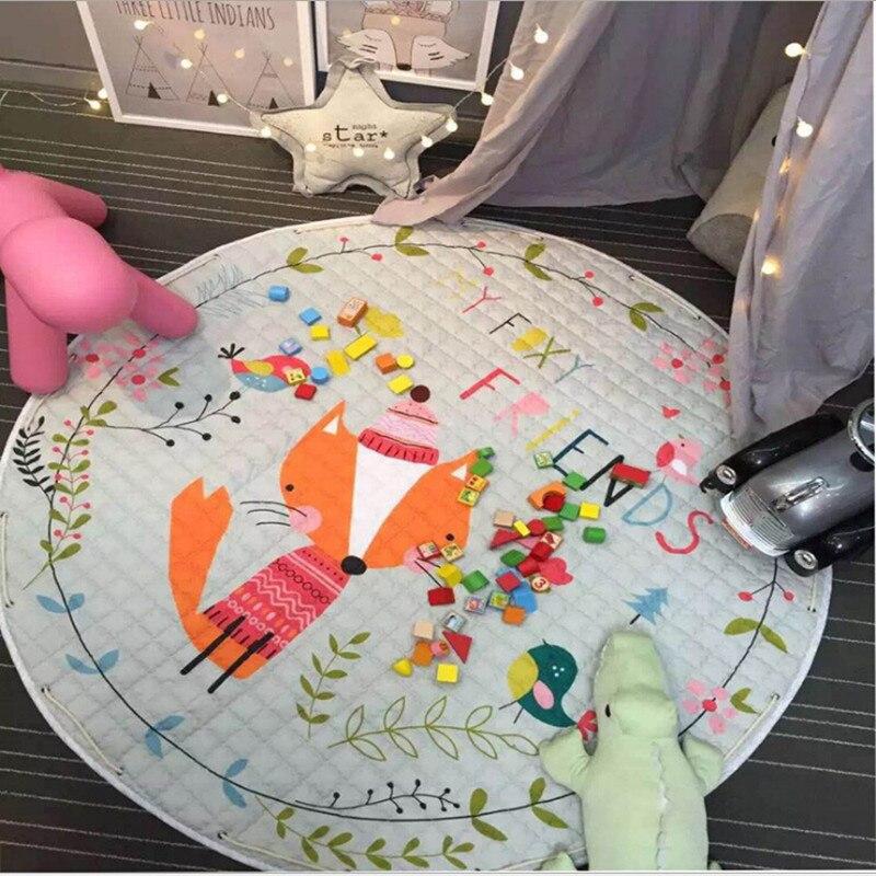 Chambre d'enfants décorer tapis rond 150*150 cm grande surface renard bébé jouer tapis Patchwork pique-nique couverture enfants ramper tapis