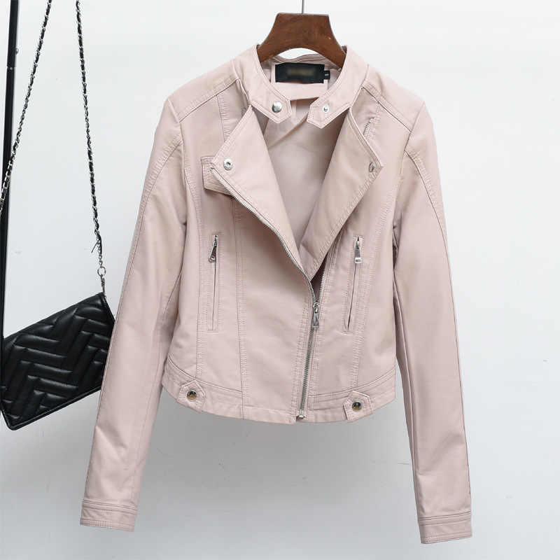 Модная Офисная Женская куртка из искусственной кожи, тонкая однотонная зимняя куртка с заклепками, мотоциклетная куртка из искусственной кожи