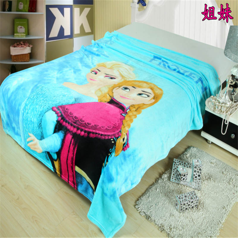 frozen elsa anna blanket flannel sophia princess thin bed cover 150*200cm washable cartoon girl linens pink blue bedspread sheet