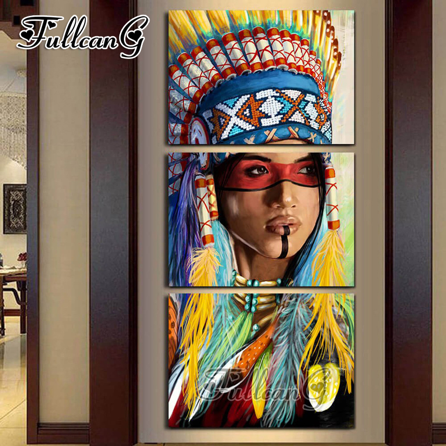 FULLCANG diy woman diamond painting triptych mosaic cross stitch full square embroidery kits G593