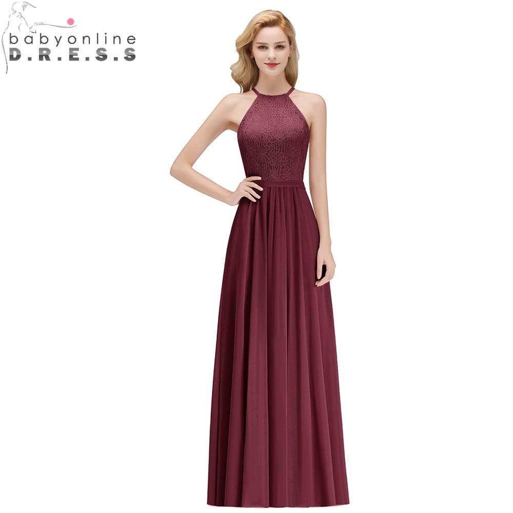 Vestido de Festa Longo Sexy Halter Neck Lace Prom Dresses Long A Line Chiffon Prom Gown Abendkleider Robe De Soiree Longo