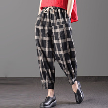 Nueva zanzea retro elástico cintura suelta Plaid largo harem Pantalones  primavera mujer vintage casual algodón Lino 033b172c962