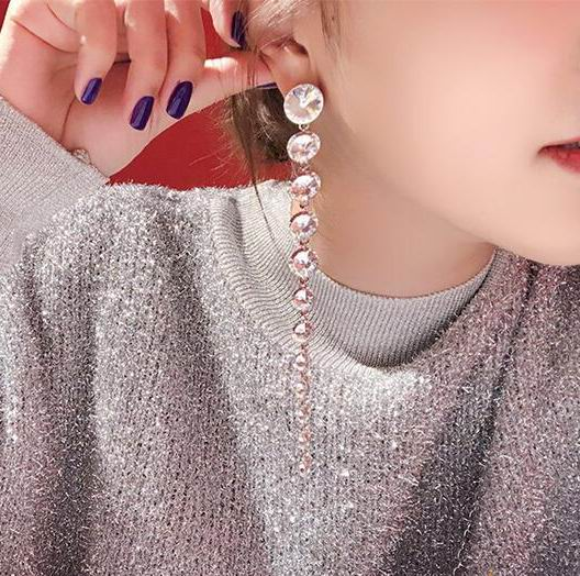 Luxury Crystal Long Earrings For Women White Stone Party Wedding Fashion Jewelry Statement Big Earrings Valentine's Day Gifts