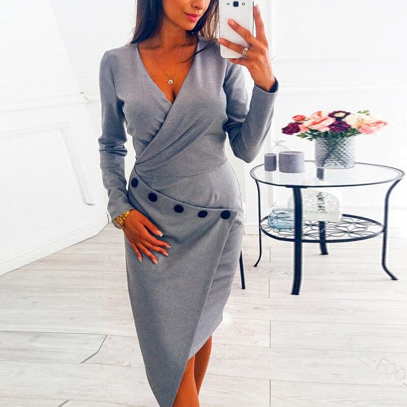 2018 Women Office Dress Ladies V Neck Button Elegant Dress Working Girl Plus Size Summer Bodycon Midi Dress SJ2015E