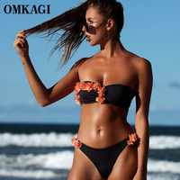 OMKAGI Brand Bikinis Set Sexy Floral Push Up Bathing Suit Bikini Swimsuit Swimwear Women Swim Suit