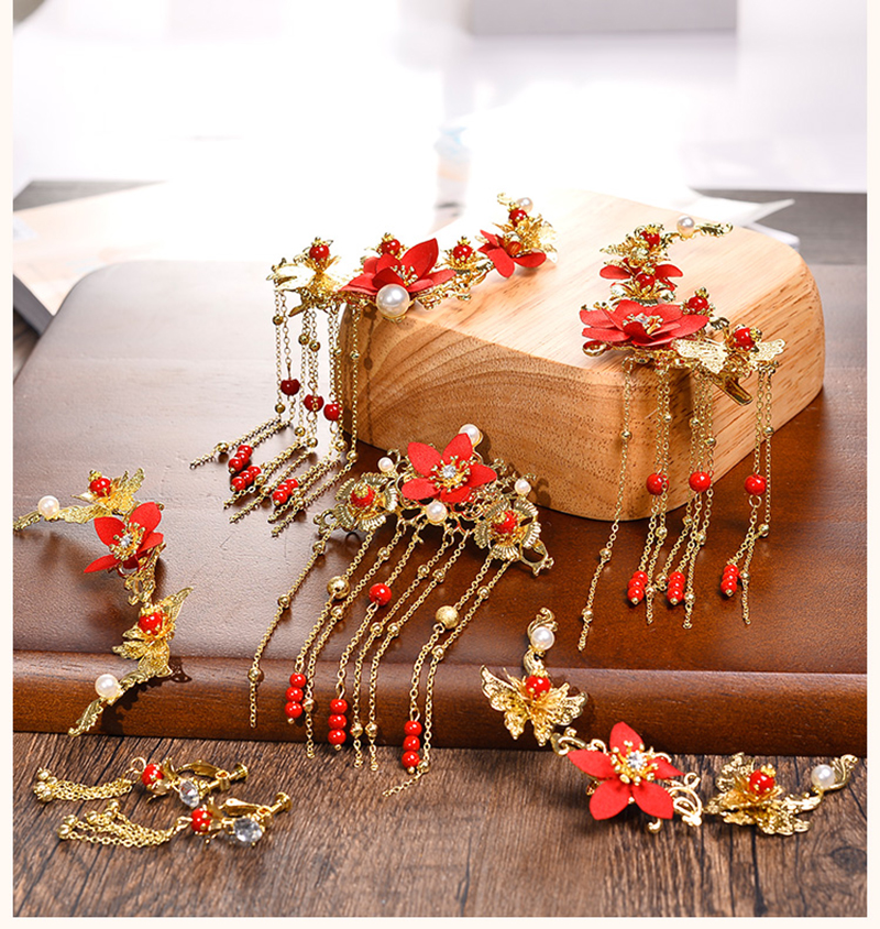 Traditional Chinese Gold Flower Red Pearl Hairpins Hair Stick Wedding Bridal Coronet Hair Jewelry Hair Accessories 4