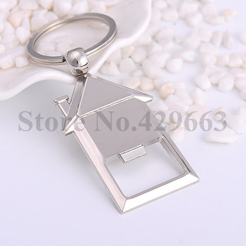 100 pieces/lot New House Keychains with Bottle Opener Novelty Keyrings Gifts for Events