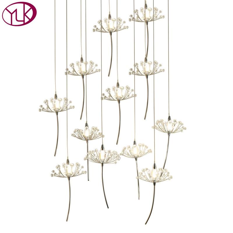 Ronde Moderne Lustre En Cristal Salon LED Suspendus Pissenlit Cristal Lampes Long Escalier Luminaire