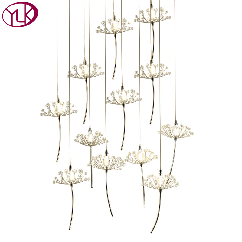 купить Round Modern Crystal Chandelier Living Room LED Hanging Dandelion Crystal Lamps Long Staircase Lighting Fixture онлайн