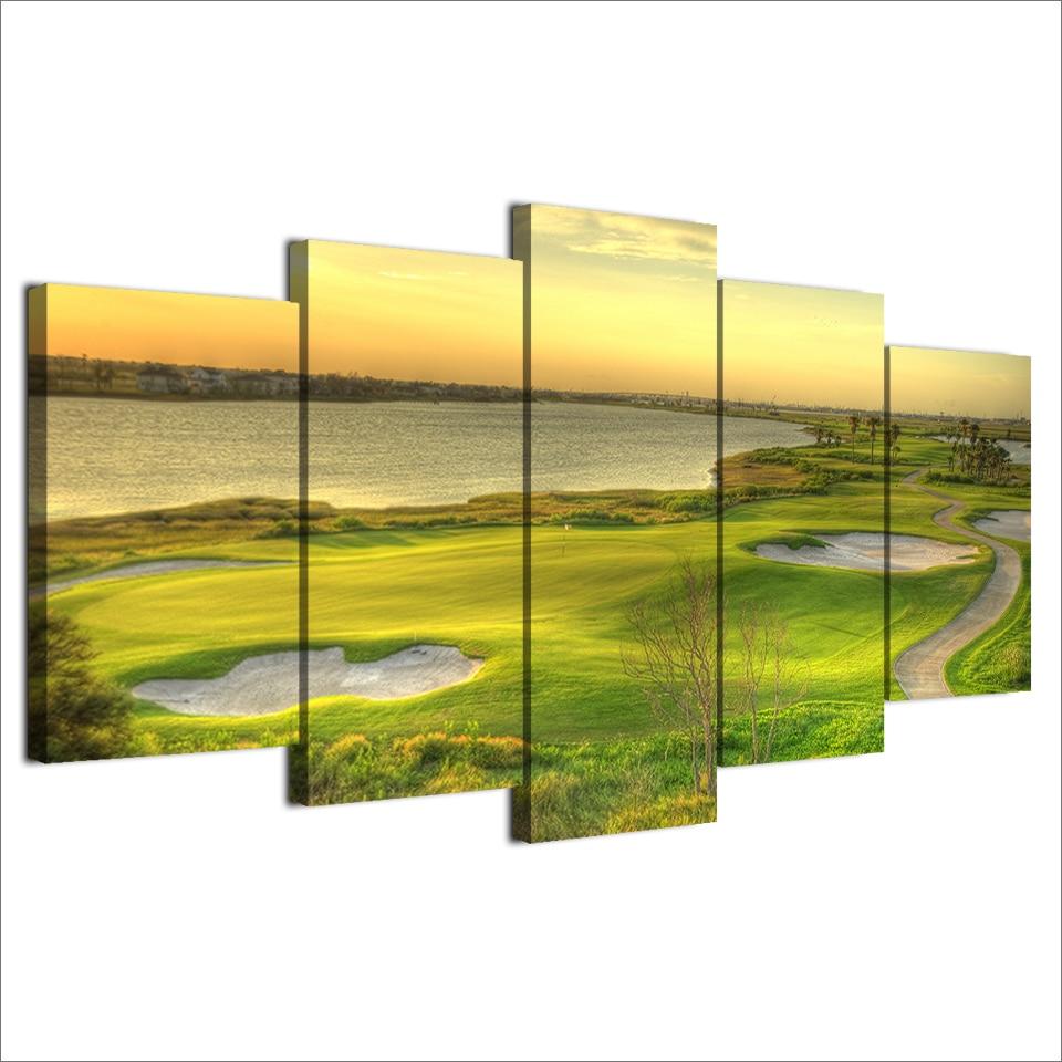 Abstrakte Malerei Wandkunst Modulare Poster 5 Panel Golfplatz Rahmen ...