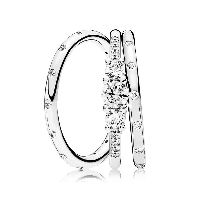 New 925 Sterling Silver Ring Sparkling Droplets Fairytale