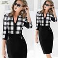 Autumn Winter Women Business Casual Sliming Pencil Dresses Elegant Long Sleeve Office Ladies Wear To Work EB10
