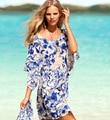 Ropa de playa Toalla de Baño Verano de Las Mujeres ropa de Playa Vestido de Falda Bikini Azul Blanco Moda Praia Tunika Servilleta Plage de Ronde