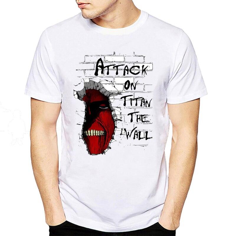 Gildan Attack On Titan The Wall T Shirt 2018 Fashion T Shirt Hip Hop Short Sleeve Devil Printed Top Tees Clothing