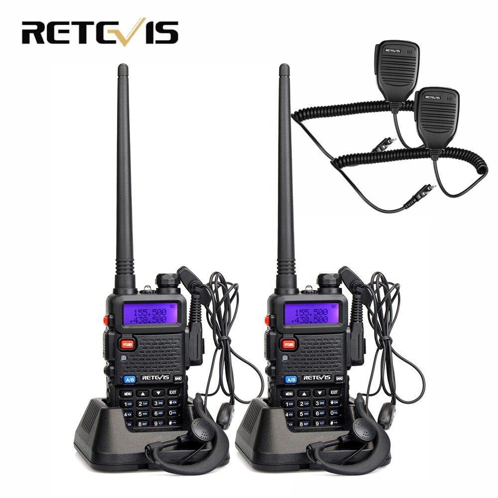2 pcs Haut-Parleur Microphone + 2 pcs Talkie Walkie Retevis RT5R 5 w 128CH Dual Band UHF VHF Radio De Poche émetteur-récepteur Talkie-walkie