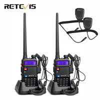 2pcs Speaker Microphone + 2pcs Walkie Talkie Retevis RT5R 5W 128CH Dual Band UHF VHF Radio Handheld Transceiver Walkie Talkie
