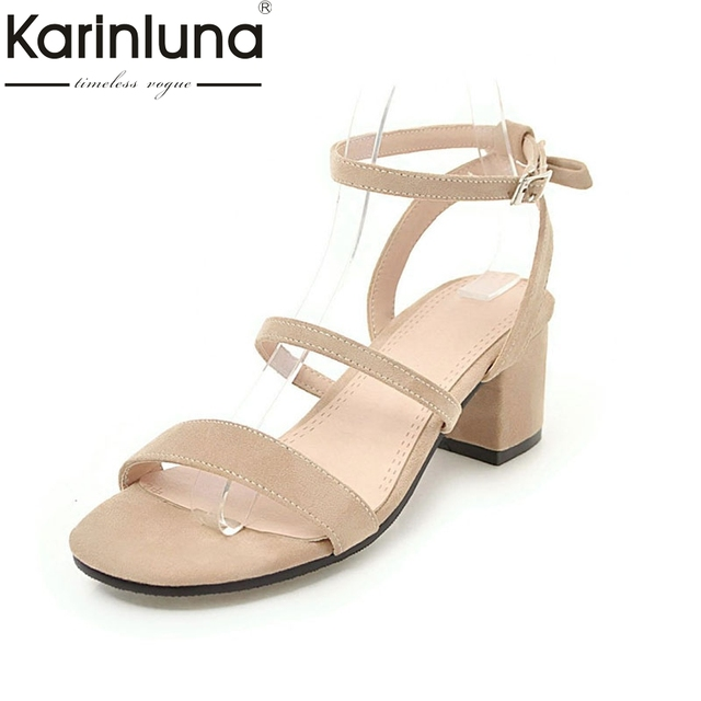 7c7435d85 KarinLuna Wholesale Big Size 30-43 6 Colors Square Heels Summer Sandal Shoes  Women Fashion Gladiator Party Woman Sandal