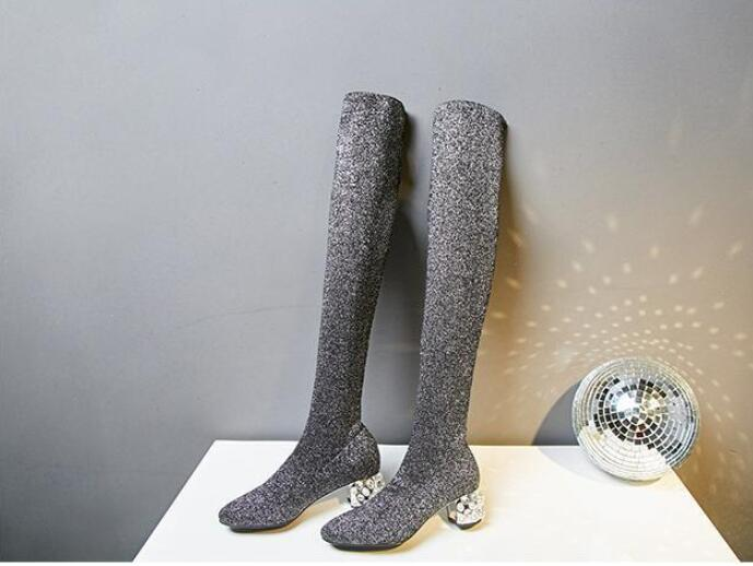 Strass Pic Sur As Bottes Femmes genou 2018 Stretch Bout Tissu Talon Chunky Pic Tricot Slip Botte Carré Automne on as Perles Sexy Femelle AvBwXg