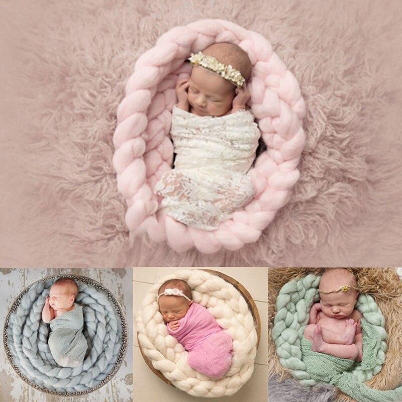 Handmade Wool Knitting Blanket Newborn Baby Photography Photo Props Backdrop Rug(China)