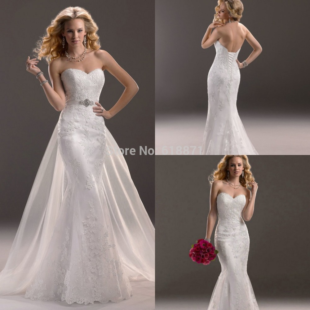Wedding Dresses With Detachable Tail: Mermaid Wedding Dress With Detachable Train Beaded Off The