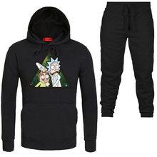 499390b60 New hip hop Autumn Winter Men Hoodies+Pants Suit Mens Fashion Cool Rick  Morty Pullover